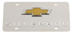 Chevy Silverado License Plate - Gold Bowtie Logo - Stainless Steel w/ Chrome Finish