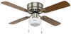 """42"""" Ceiling Fan for RVs - Schoolhouse Light Kit - Cherry/Oak Blades - Brushed Nickel - 120V No Wall Switch 324-000035"""
