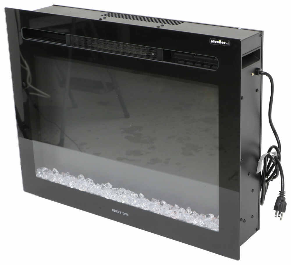 "Greystone 26"" Electric Fireplace with Crystals - Recessed Mount - Black No Side Lights 324-000068"