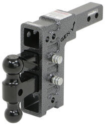 "Gen-Y Adjustable 2-Ball Mount w/ Stacked Receivers - 2"" Hitch - 7-1/2"" Drop/Rise - 16K"