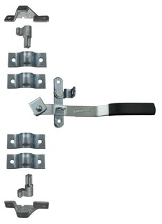 Cam-Action Lockable Door Latch Kit w/ Narrow Hasp for Small Enclosed Trailers - Zinc-Plated Steel
