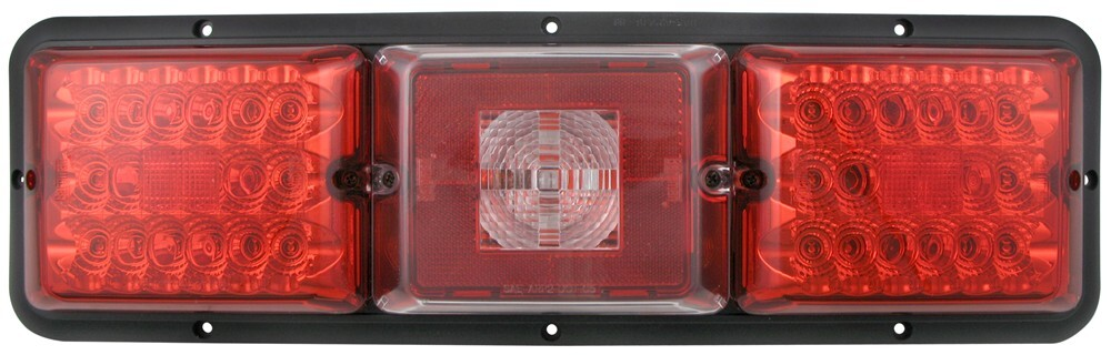 Bargman LED Triple Tail Light - 5 Function - 36 Diodes - Black Base - Red and Clear Lens Red and White 47-84-103
