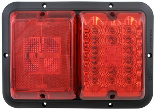 Bargman LED, Recessed, Double Tail Light - 84, 85 Series - Red LED, Red Incandescent - Black Base Red 47-84-529