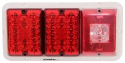 Bargman Triple Tail Light - 84, 85 Series - Red LED, Incandescent Backup - White Base