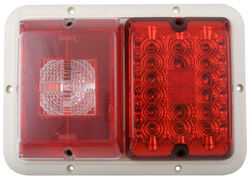 Bargman LED, Recessed, Double Tail Light - 84, 85 Series - Red LED, Incandescent Backup - White Base