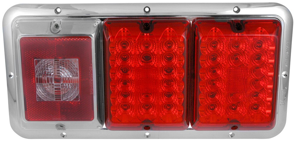 Bargman LED Triple Tail Light - 5 Function - 36 Diodes - Chrome Base - Red and Clear Lens LED Light 47-85-002