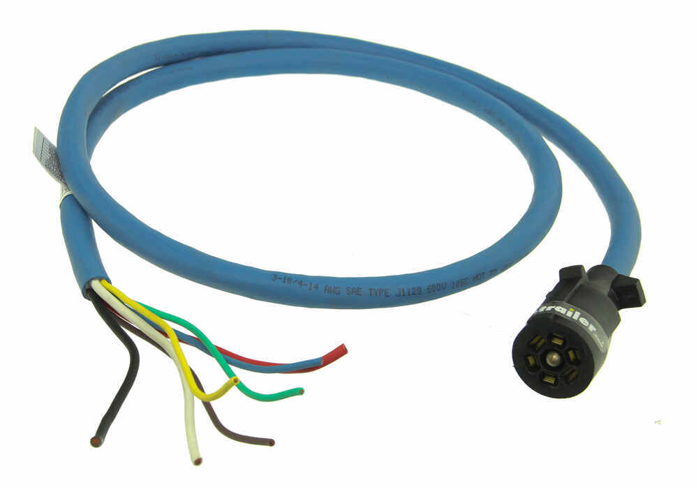 7-Way Molded Trailer End with 6\' Cable - HD Blue Insulated Bargman ...
