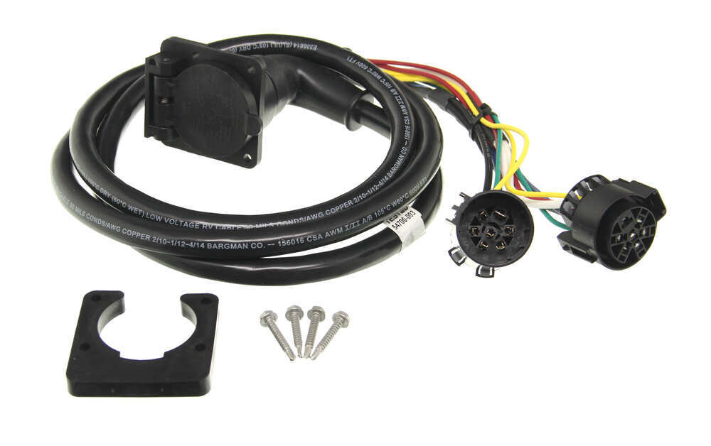 5th wheel gooseneck 90 degree wiring harness w 7 pole plug