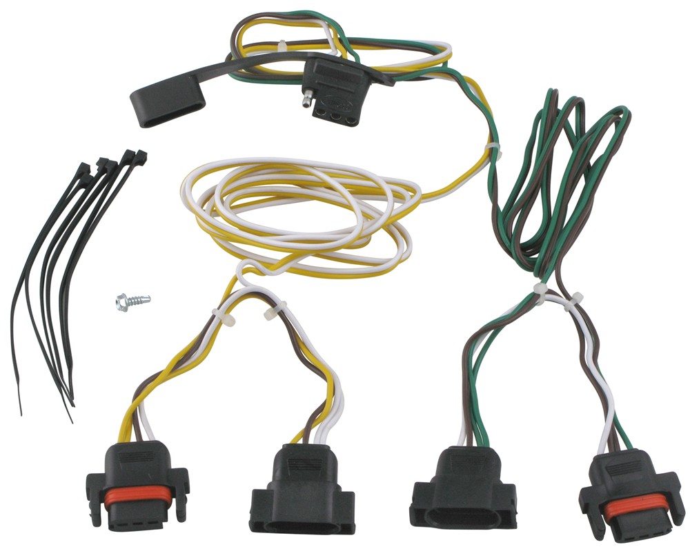 Curt T-Connector Vehicle Wiring Harness with 4-Pole Flat Trailer Connector  Curt Custom Fit Vehicle Wiring 55323