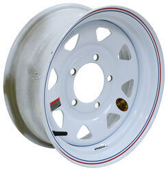 "Taskmaster Steel 8-Spoke Trailer Wheel - 15"" x 6"" Rim - 5 on 5-1/2 - White"