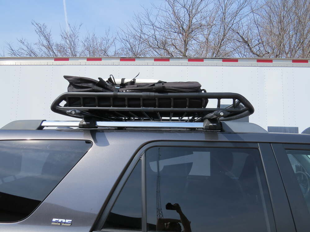 "48/""x40/"" Black Roof Rack Top Cargo Luggage Basket+Wind Deflector+Brackets For SUV"