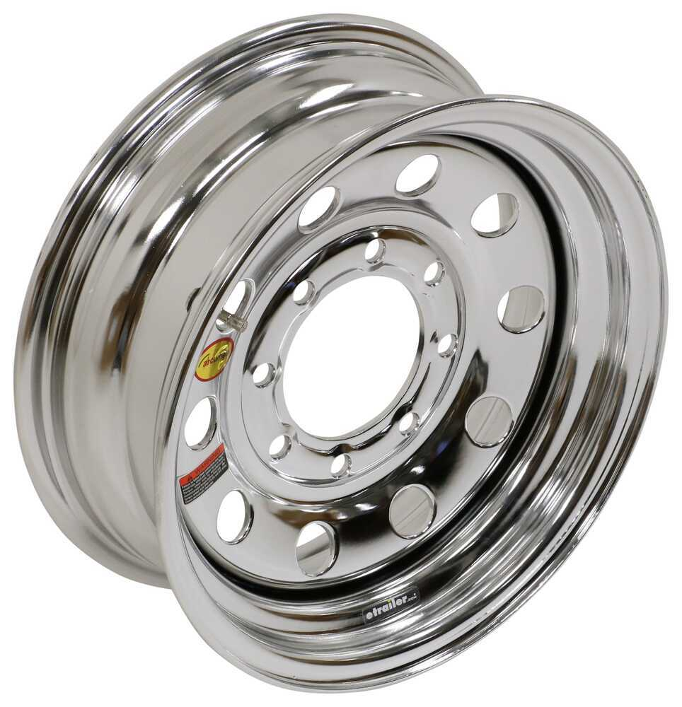 "Taskmaster Steel Modular Trailer Wheel - 16"" x 6"" Rim - 8 on 6-1/2 - Silver PVD Finish Steel Wheels - PVD,Boat Trailer Wheels 660865WM3SPVD"