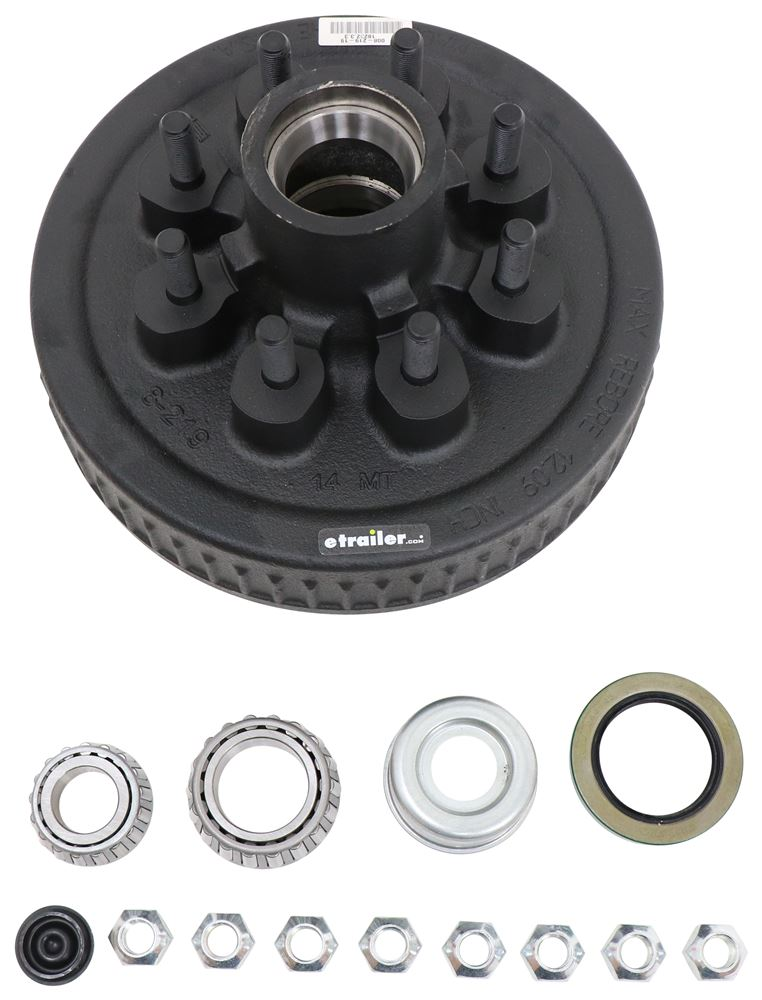 "Dexter Trailer Hub and Drum Assembly for 7,000-lb E-Z Lube Axles - 12"" Diameter - 8 on 6-1/2 25580 8-219-18UC3"