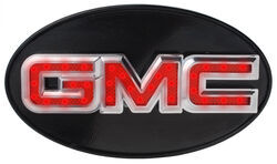 "GMC LED Lighted Trailer Hitch Cover - 1-1/4"" and 2"" Hitches - Chrome"