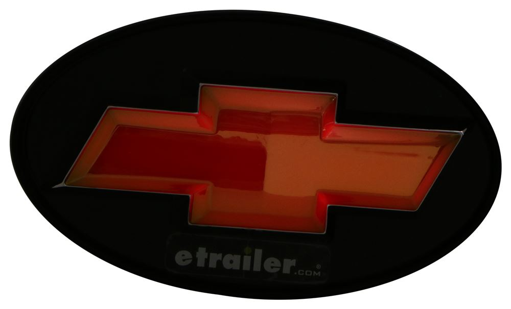 """Chevy Bowtie Gold /& Black 2/"""" Tow Hitch Receiver Cover Red LED Light Up Emblem"""