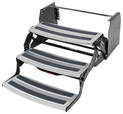 "Hickory Springs Manual Pull-Out Steps for RV - Triple - 7"" Drop/Rise - 24"" Wide - Aluminum"