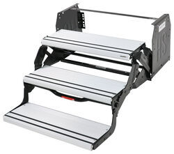 "Hickory Springs Manual Pull-Out Steps - Triple - 7"" Drop/Rise - 24"" Wide - Ridged Aluminum"