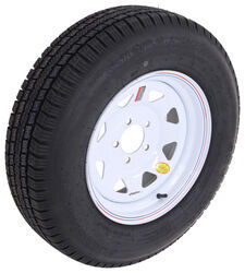 "Provider ST205/75R15 Radial Trailer Tire with 15"" White Spoke Wheel - 5 on 4-1/2 - Load Range D"