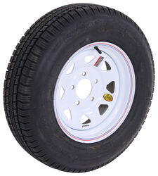 "Provider ST205/75R15 Radial Trailer Tire with 15"" White Spoke Wheel - 5 on 5 - Load Range D"