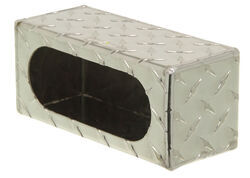 "Custer Light Mounting Box - 6-3/4"" Long Oval Hole - Diamond Plate Pattern - Aluminum"