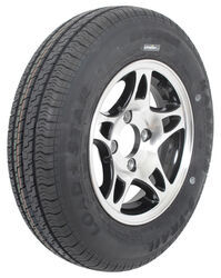 "Kenda KR25 Radial Trailer Tire with 12"" Aluminum HWT Black Wheel - 4 on 4 - Load Range D"
