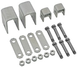 "Single-Axle Trailer Hanger Kit for Double-Eye Springs - 3-1/4"" Front, 9/10"" Rear"