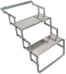 "Brophy Camper Scissor Steps - 2 Steps - Aluminum - Diamond Tread - 18"" Wide - 250 lbs"