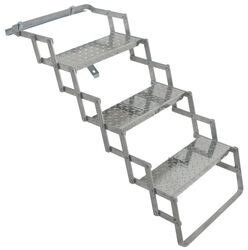 "Brophy Camper Scissor Steps - 3 Steps - Aluminum - Diamond Tread - 18"" Wide - 250 lbs"