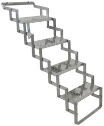 "Brophy Camper Scissor Steps - 4 Steps - Aluminum - Diamond Tread - 18"" Wide - 250 lbs"