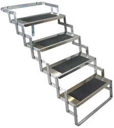 "Brophy RV Scissor Steps - 4 Steps - Aluminum - 24"" Wide - 31"" to 39"" Tall - 300 lbs"