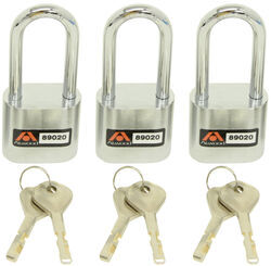 Atwood AMPlock Padlocks - Stainless Steel - Chrome Plated Shackles - 3 Pack - Keyed Alike - AT89020