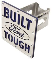 "Built Ford Tough Trailer Hitch Cover - 2"" Hitches - Brushed Stainless Steel"