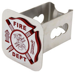 "Fire Department Trailer Hitch Cover - 2"" Hitches - Stainless Steel - Chrome"