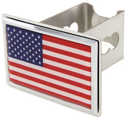 "American Flag Trailer Hitch Cover - 2"" Hitches - Stainless Steel - Chrome Trim"