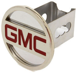 "GMC Trailer Hitch Cover - 2"" Hitches - Stainless Steel - Chrome and Red"