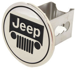 "Jeep Trailer Hitch Cover - 2"" Hitches - Stainless Steel - Chrome"