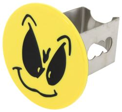 "Grimacing Smiley Face Hitch Cover - 2"" Hitches - Stainless Steel - Yellow"