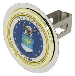 "US Air Force Trailer Hitch Cover - 1-1/4"" Hitches - Stainless Steel - Gold Trim"