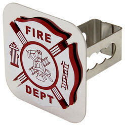 "Fire Department Trailer Hitch Cover - 1-1/4"" Hitches - Stainless Steel - Chrome"