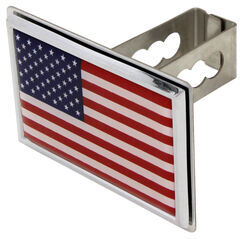 "American Flag Trailer Hitch Cover - 1-1/4"" Hitches - Stainless Steel - Chrome Trim"
