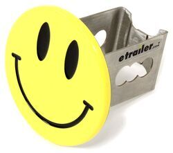 "Smiley Face Hitch Cover - 1-1/4"" Hitches - Stainless Steel - Yellow"