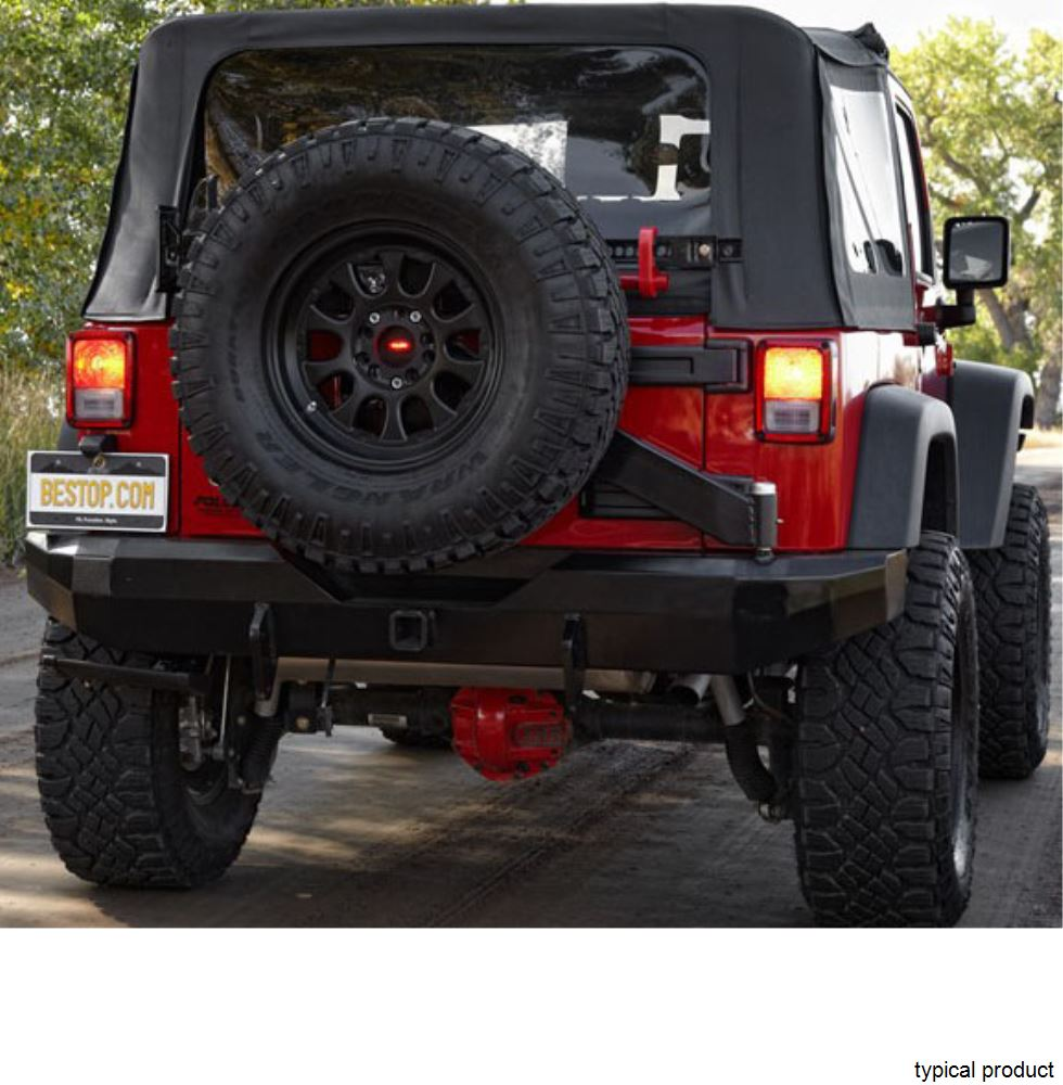 "Jeep Matte Black >> Bestop HighRock 4x4 Rear Bumper with 2"" Hitch and Spare Tire Carrier for Jeep - Matte Black ..."