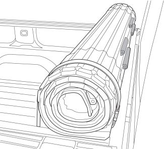 Diagram of rubber bumpers on inside of tonneau cover