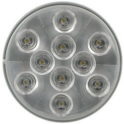 "Sealed, 4"" Round LED Trailer Utility Light, Flush Mount, 10 Super Diode - Clear"