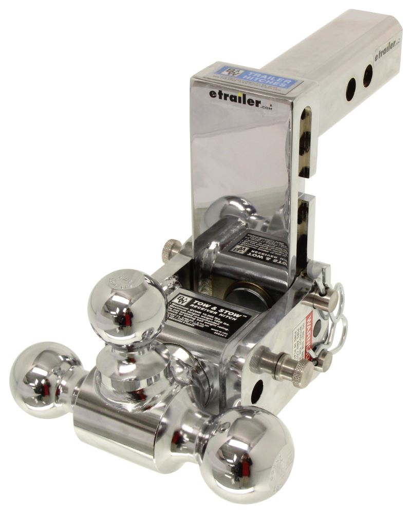 """Adjustable Tow Hitch >> B&W Tow & Stow 3-Ball Mount - 2"""" Hitch - 5"""" Drop, 5-1/2"""" Rise - 10K - Chrome B and W Ball Mounts ..."""