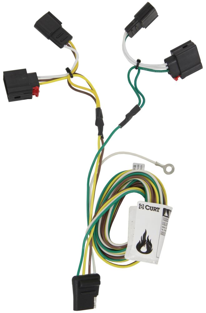 curt t connector vehicle wiring harness with 4 pole flat trailer connector curt custom fit