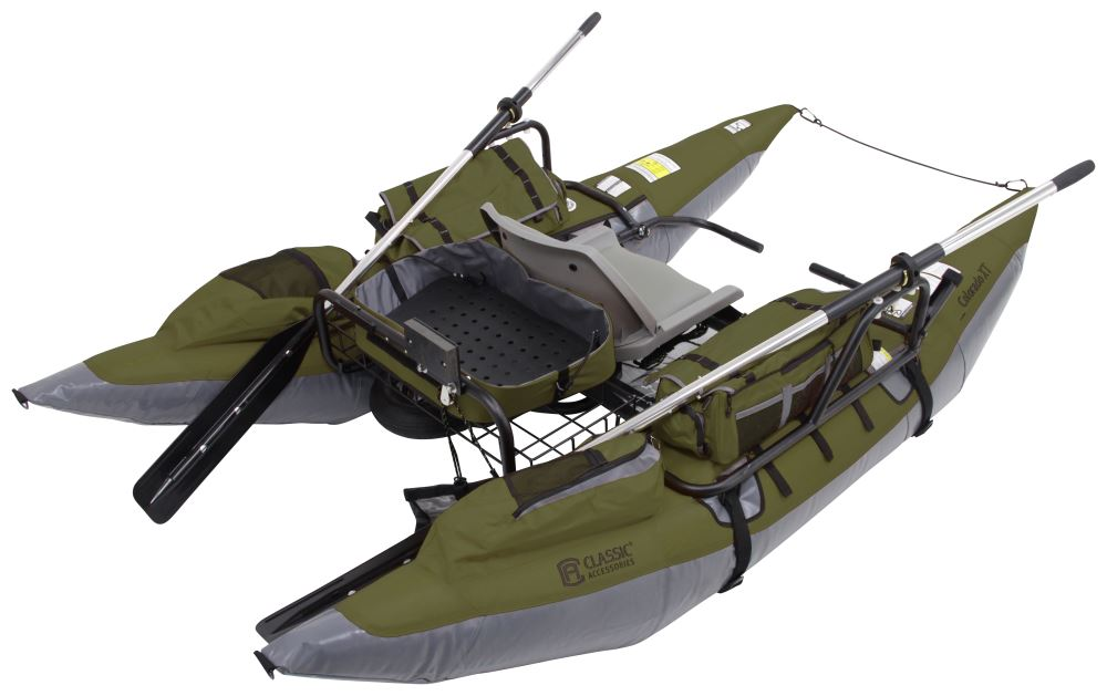 Classic accessories 9 39 pontoon boat with transport wheel for Green top hunting and fishing