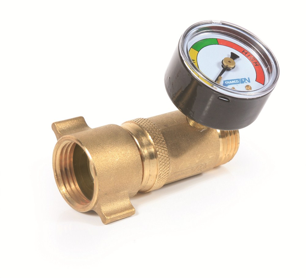 camco rv water pressure regulator w gauge brass camco rv fresh water cam40064. Black Bedroom Furniture Sets. Home Design Ideas