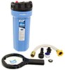 Camco RV and Marine Premium Water Filter w/ Replaceable Cartridge and Hose Extension - KDF/Carbon