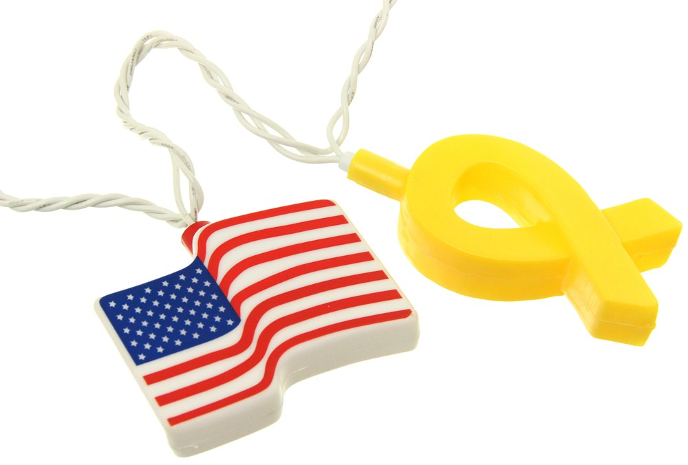 Camco Party Lights American Flags And Ribbons 8 Long